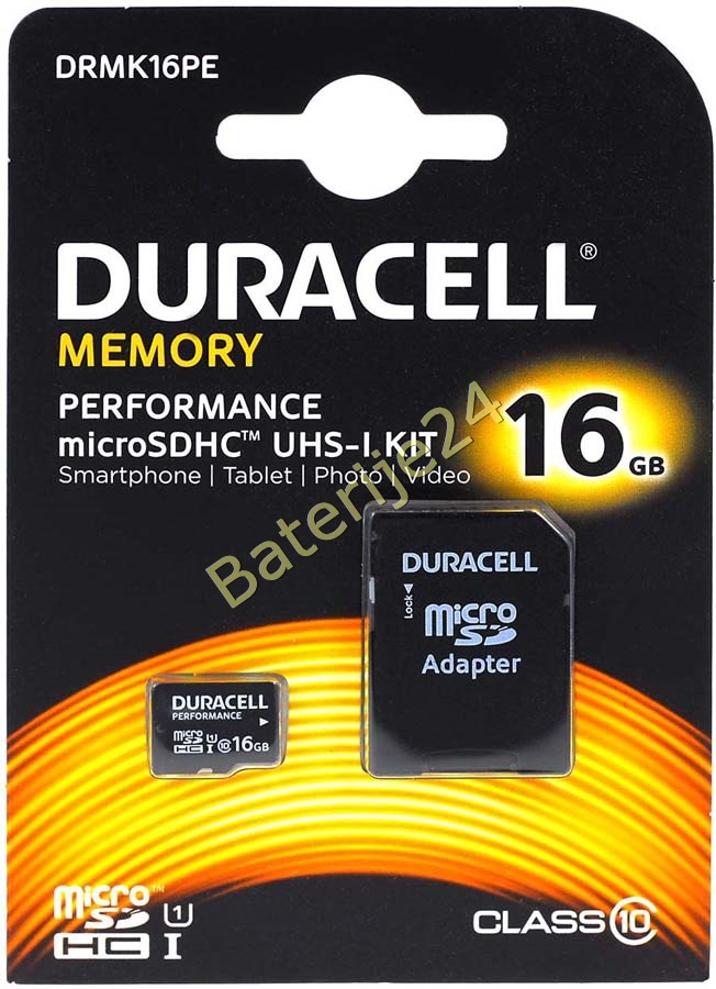Duracell Memory Micro-SD-Card microSDHC UHS-I KIT 16GB sa Adapter auf SDHC