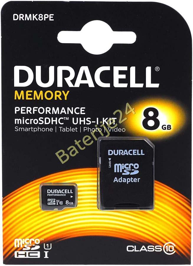Duracell Memory Micro-SD-Card microSDHC UHS-I KIT 8GB sa Adapter auf SDHC
